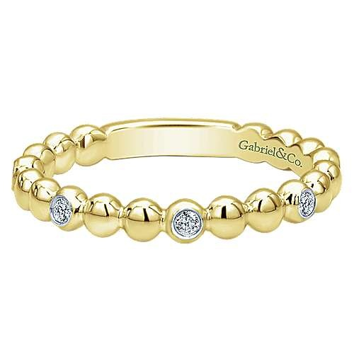 Gabriel & Co LR4870 14kt Yellow Gold Beaded Diamond Station Ring