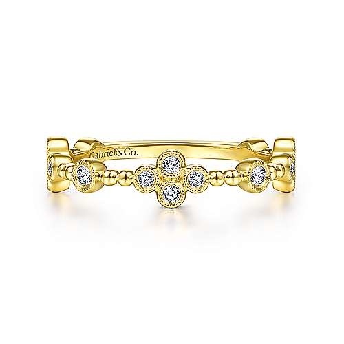 Gabriel & Co LR51473 Diamond Quatrefoil Station Ring