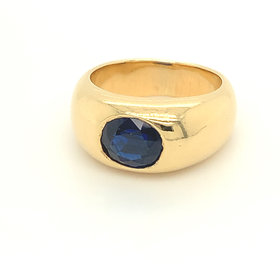14kt yellow gold oval sapphire bezel ring