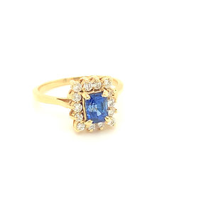 14kt Yellow Gold Emerald Cut Sapphire & Diamond Halo Ring