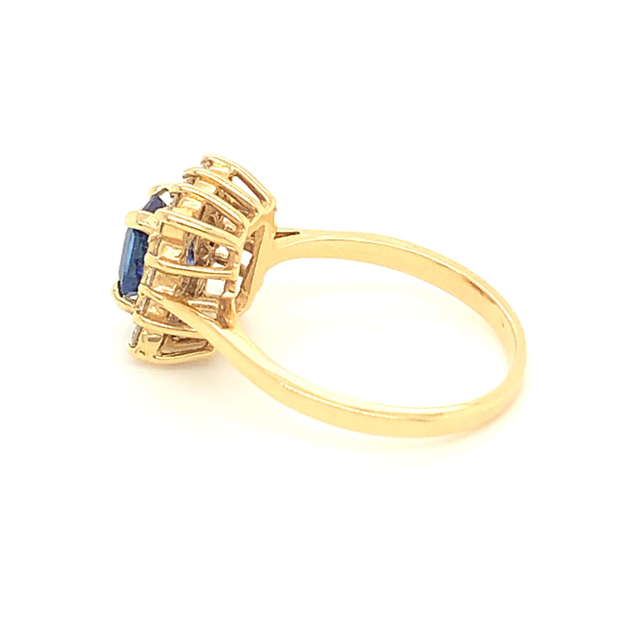 Freedman 14kt Yellow Gold Emerald Cut Sapphire & Diamond Halo Ring