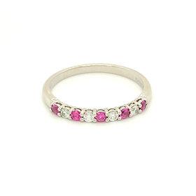 Tiffany & Co Embrace Platinum Diamond & Pink Sapphire Estate Band