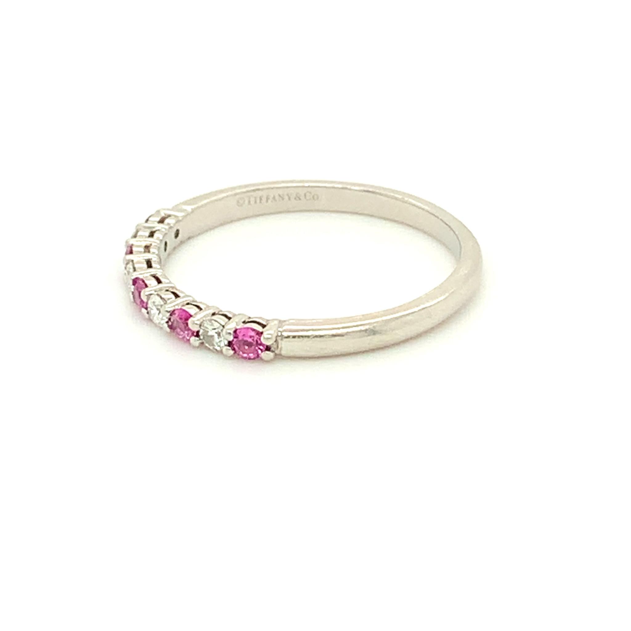 Freedman Tiffany & Co Embrace Platinum Diamond & Pink Sapphire Estate Band