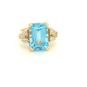 9 Carat Blue Topaz & Diamond Ring