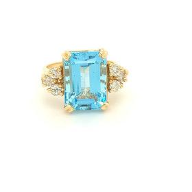9 Carat Blue Topaz & Diamond Ring