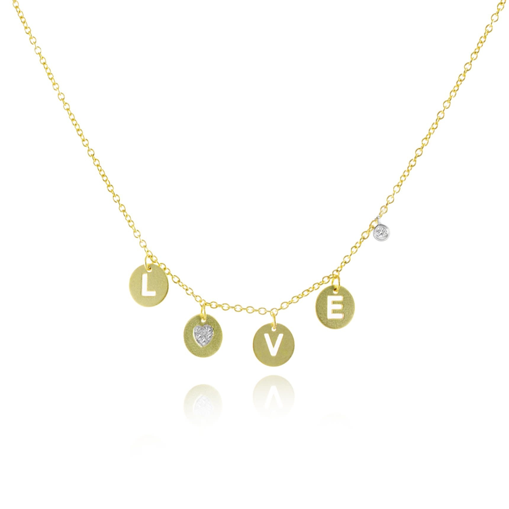 14kt Yellow Gold Love Disc Necklace