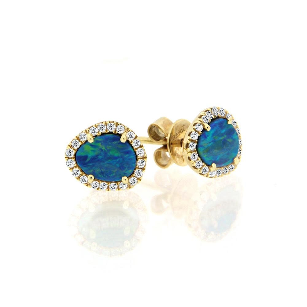 14kt Yellow Gold Opal Stud Earrings