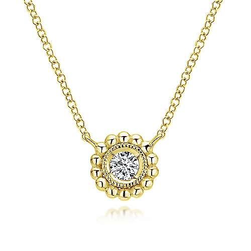 Gabriel & Co NK4764 14kt Gold Beaded Round Bezel Pendant Necklace