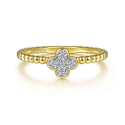Gabriel & Co Diamond Cluster Clover Stackable Band
