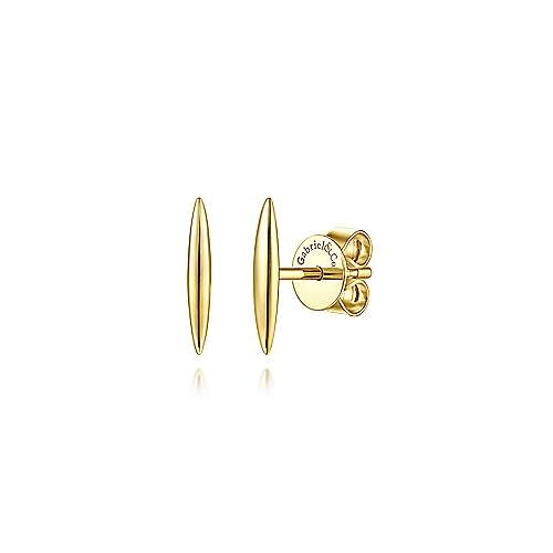 14kt Yellow Gold Smooth Bar Earrings