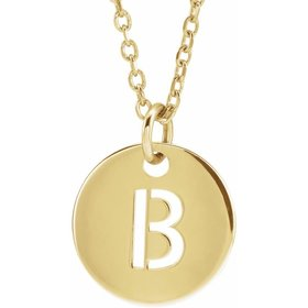 14kt  Gold 10mm Initial Disc Pendant Necklace