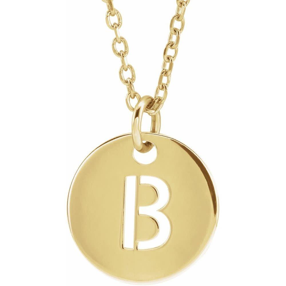 Stuller 14kt  Gold 10mm Initial Disc Pendant Necklace
