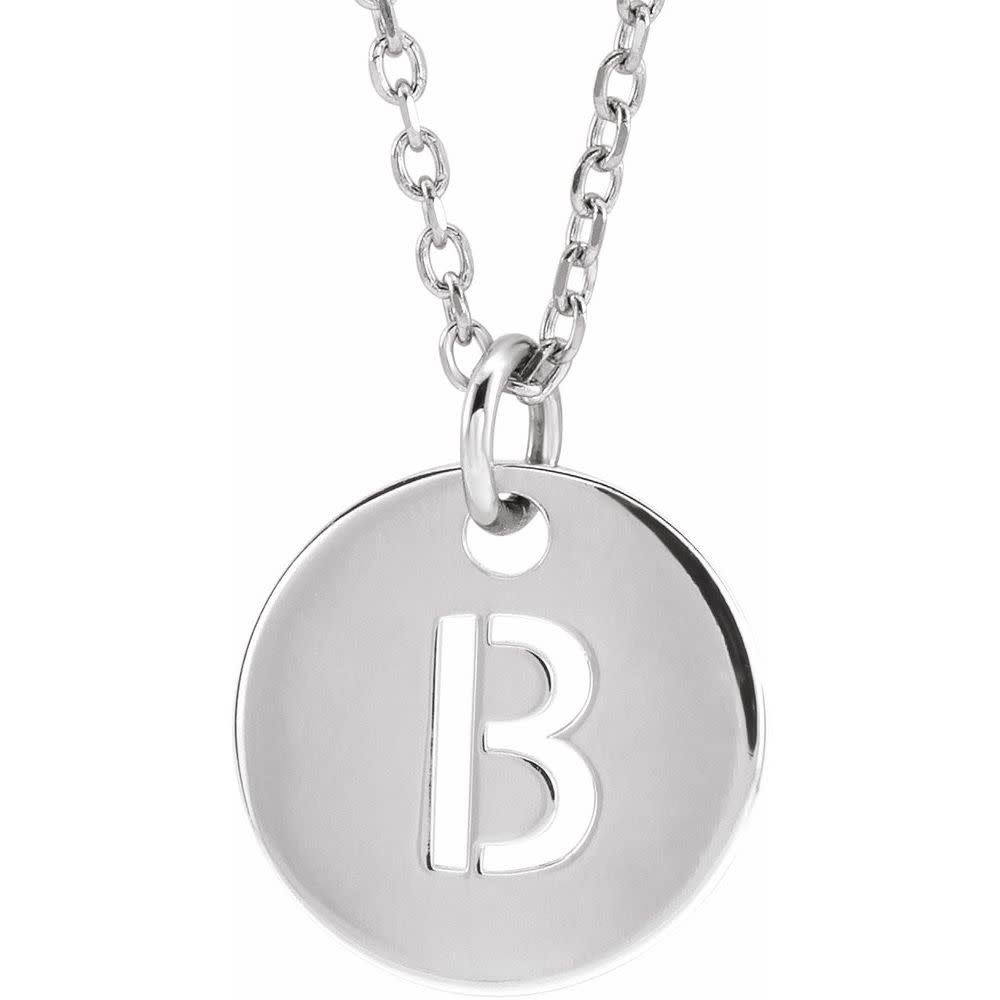 Stuller 14kt  Gold 10mm Initial Disc Pendant Necklace