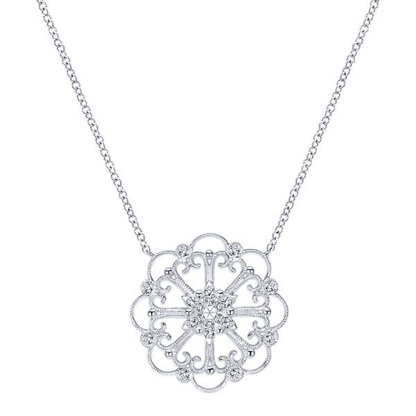 Gabriel & Co NK3823 14k White Gold and Diamond Necklace
