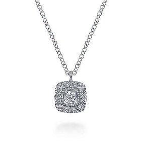 NK6047 Cushion Shaped Diamond Halo Necklace
