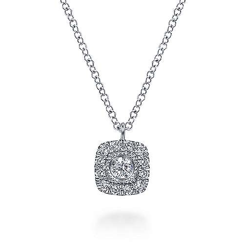 Gabriel & Co NK6047 Cushion Shaped Diamond Halo Necklace