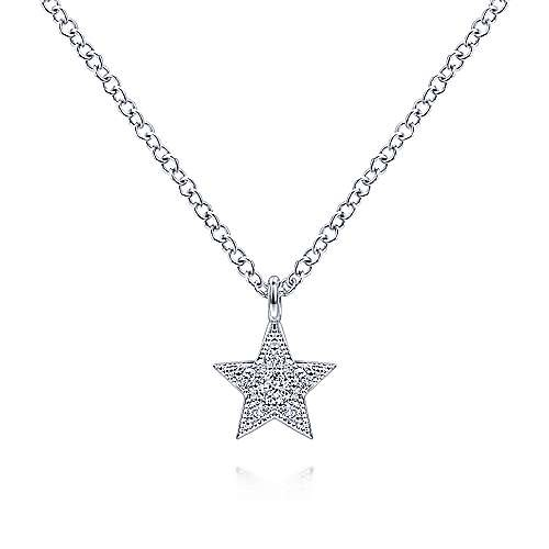 14kt White Gold Diamond Star Pendant