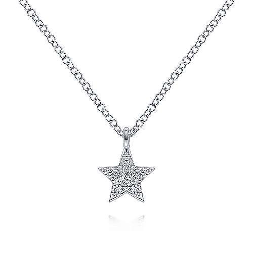 Gabriel & Co 14kt White Gold Diamond Star Pendant