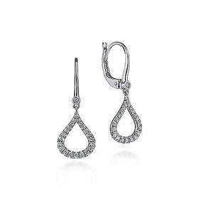 EG12201 14kt White Gold Diamond Drop Earrings