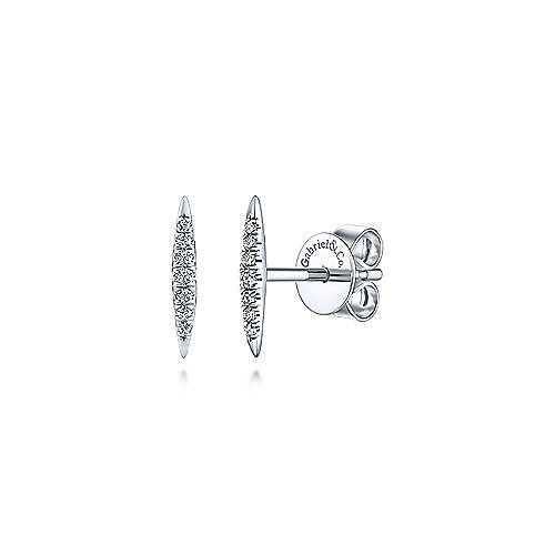 14kt Diamond Bar Stud Earrings