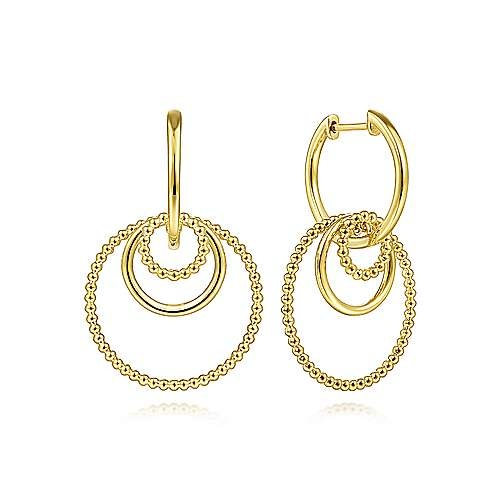 14kt Yellow Gold Circles Hoop Earrings