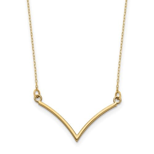14kt Yellow Gold V Necklace