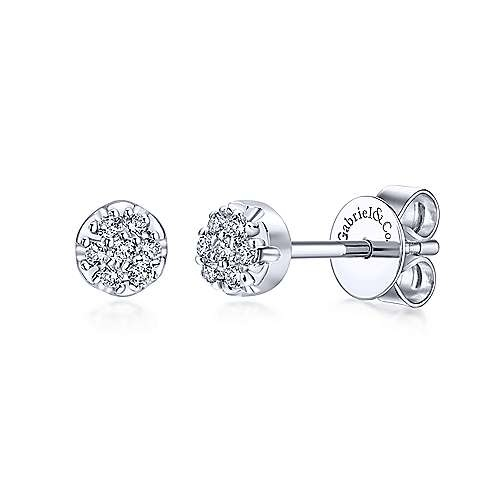 Gabriel & Co EG10597 14kt White Gold Diamond Cluster Earrings