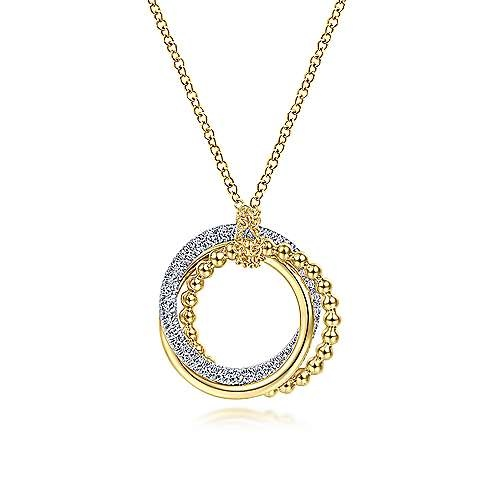 14kt Two Toned Gold Interlocking Diamond Circles Necklace