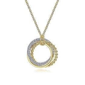 14kt Two Toned Gold Interlocking Diamond Circles Necklace