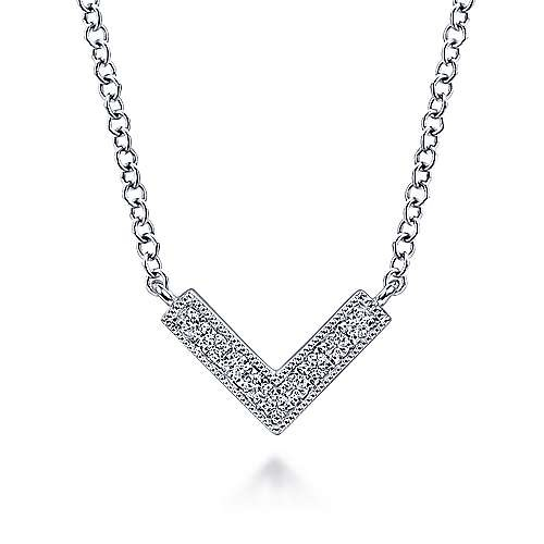 14kt White Gold Diamond Chevron Necklace