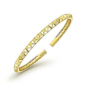 14kt Yellow Gold Pyramid Cuff Bangle Bracelet