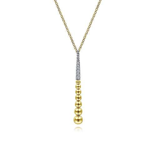 14kt Gold Diamond Y Necklace