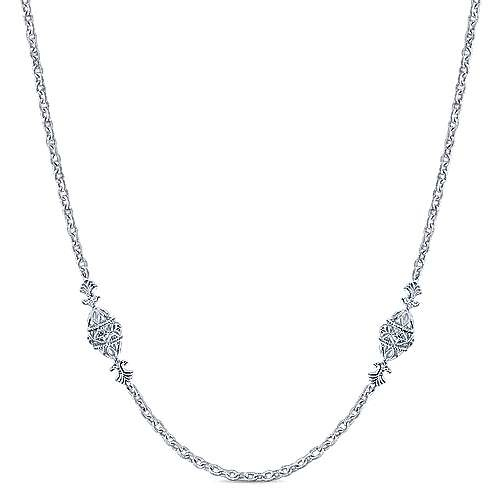 "32"" Sterling Silver Filigree Bead Station Necklace"