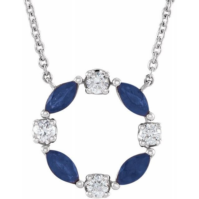 14kt White Gold Blue Sapphire & Diamond Circle Necklace
