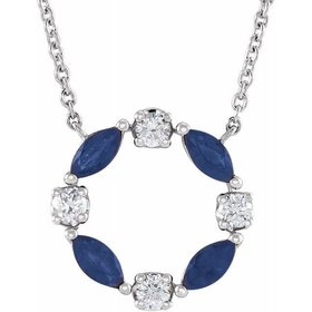 14kt White Gold Blue Sapphire & Diamond Circle Necklace