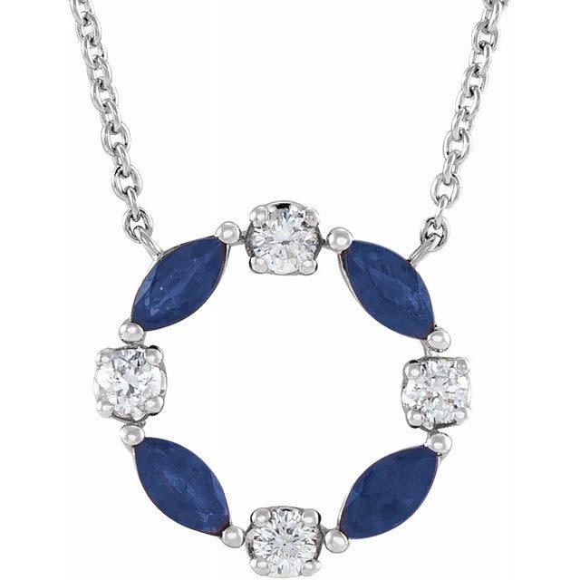 Stuller 14kt White Gold Blue Sapphire & Diamond Circle Necklace