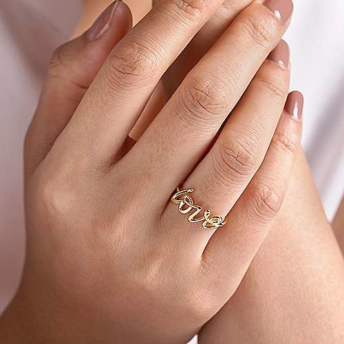 Gabriel & Co 14kt Yellow Gold Love Ring