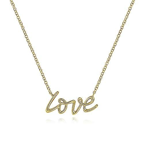 Gabriel & Co 14kt Yellow Gold Love Necklace