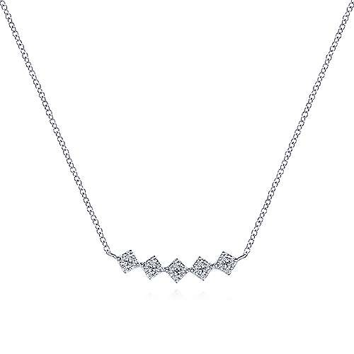 14kt White Gold Diamond Square Station Bar Necklace