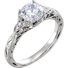 652427 hand engraved floral engagement ring