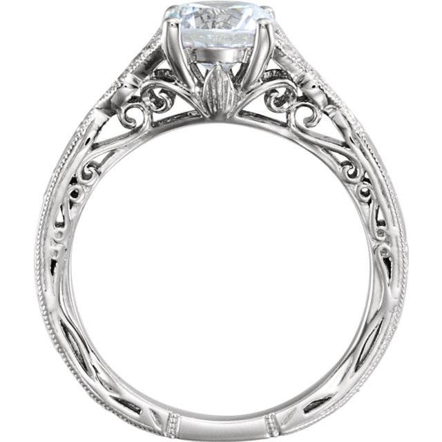 Stuller 652427 hand engraved floral engagement ring