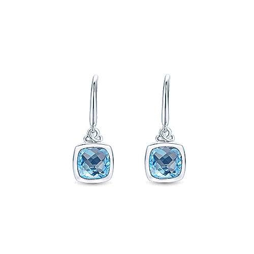 Silver Swiss Blue Topaz Cushion Bezel Earrings
