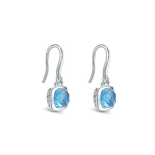 Gabriel & Co Silver Swiss Blue Topaz Cushion Bezel Earrings