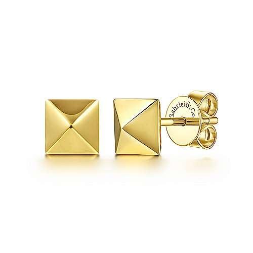 Gabriel & Co 6mm 14kt Yellow Gold Pyramid Stud Earrings