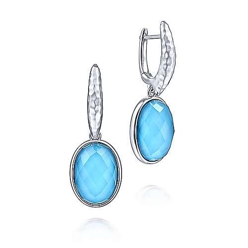 Sterling Silver Turquoise Oval Drop Earrings