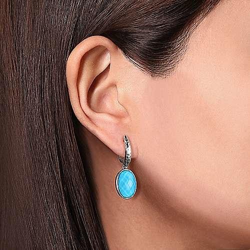 Gabriel & Co Sterling Silver Turquoise Oval Drop Earrings