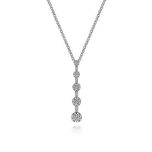 Gabriel & Co 14kt White Gold Diamond Station Drop Necklace