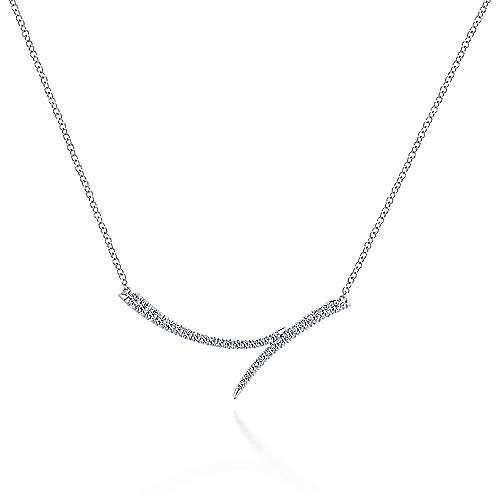 14kt White Gold Bypass Diamond Bar Necklace