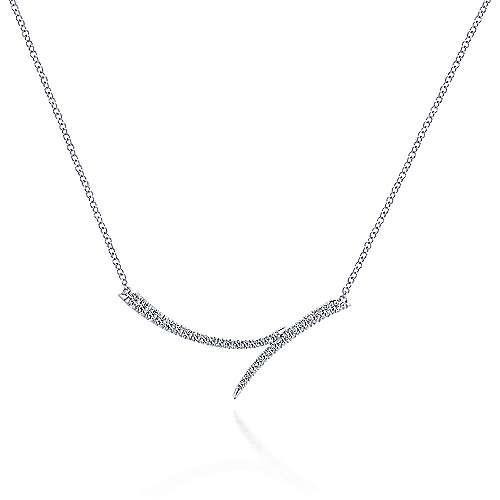 Gabriel & Co 14kt White Gold Bypass Diamond Bar Necklace