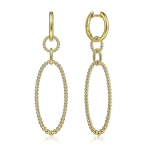 Gabriel & Co 14kt Yellow Gold Bujukan Ball Oval Drop Earrings